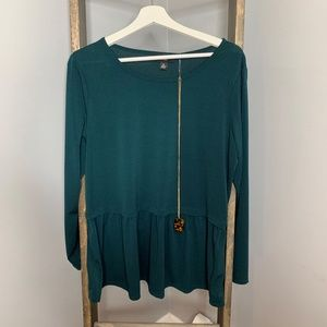 AGB Teal Green Tunic BLouse Necklace